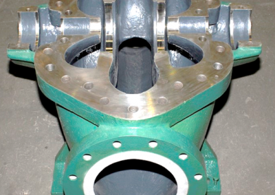 Overhauled split casing pump with Loctite composites