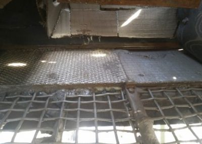 Quarry chute wear plates from AbrasaPlate-X cross hatch
