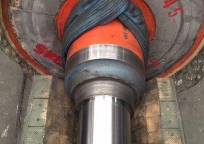 Metal sprayed shaft after finish grinding