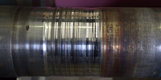 Damaged shaft ready to be repaired by metal spray