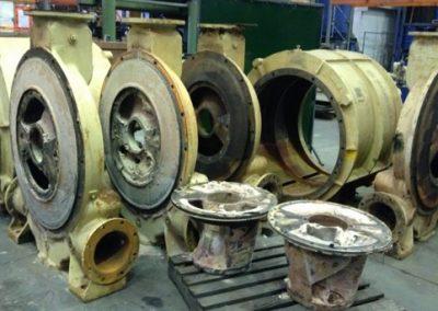 Vacuum pump parts during repair