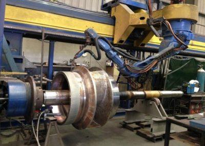 Pump impeller hardfacing performed by robot