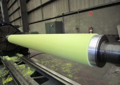 Polyurethane roll cover during machining