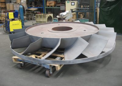 Hardfaced fans have longer life in abrasive environments
