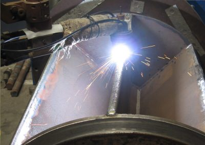 Welding hardfacing onto a rotary valve rotor
