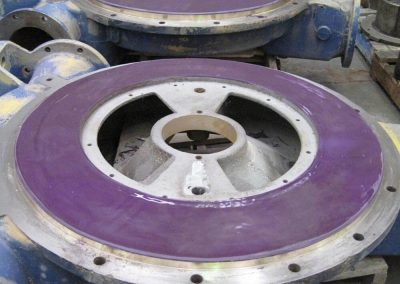 Vacuum pump end plates lined with Loctite Composite coatings to reduce hangup
